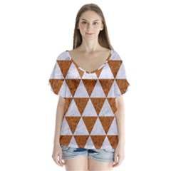 Triangle3 White Marble & Rusted Metal V Neck Flutter Sleeve Top