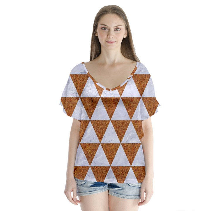 TRIANGLE3 WHITE MARBLE & RUSTED METAL V-Neck Flutter Sleeve Top