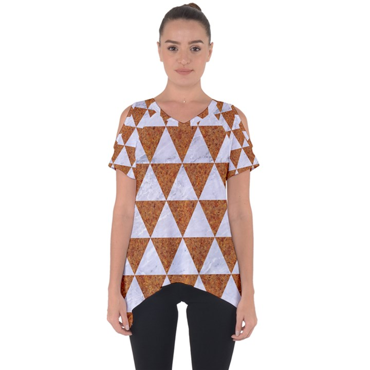 TRIANGLE3 WHITE MARBLE & RUSTED METAL Cut Out Side Drop Tee