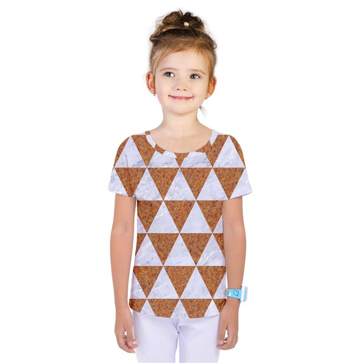 TRIANGLE3 WHITE MARBLE & RUSTED METAL Kids  One Piece Tee