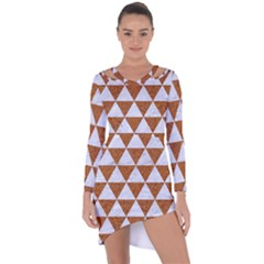 Triangle3 White Marble & Rusted Metal Asymmetric Cut Out Shift Dress