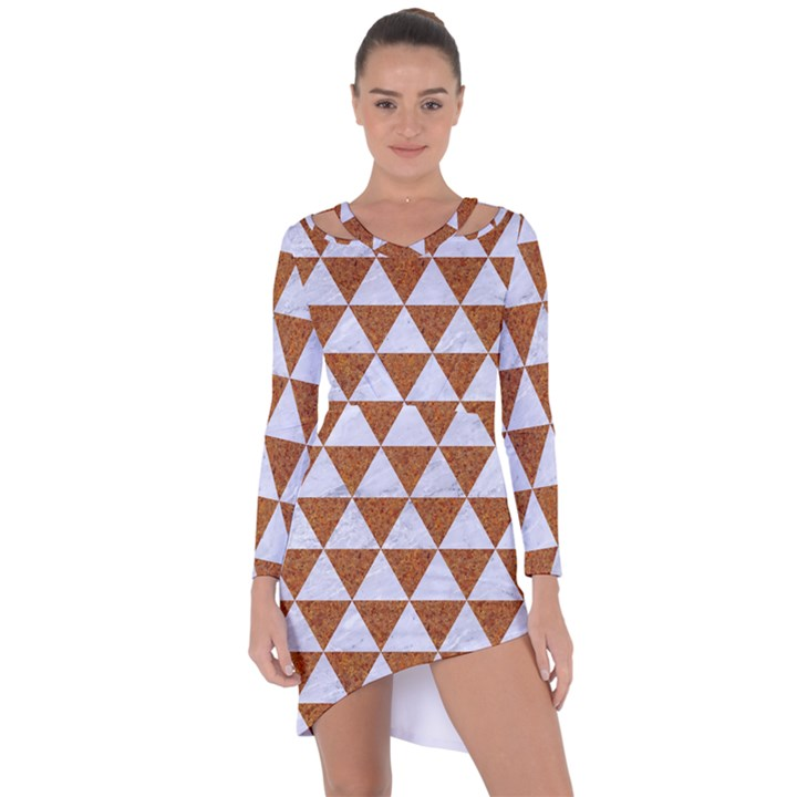TRIANGLE3 WHITE MARBLE & RUSTED METAL Asymmetric Cut-Out Shift Dress