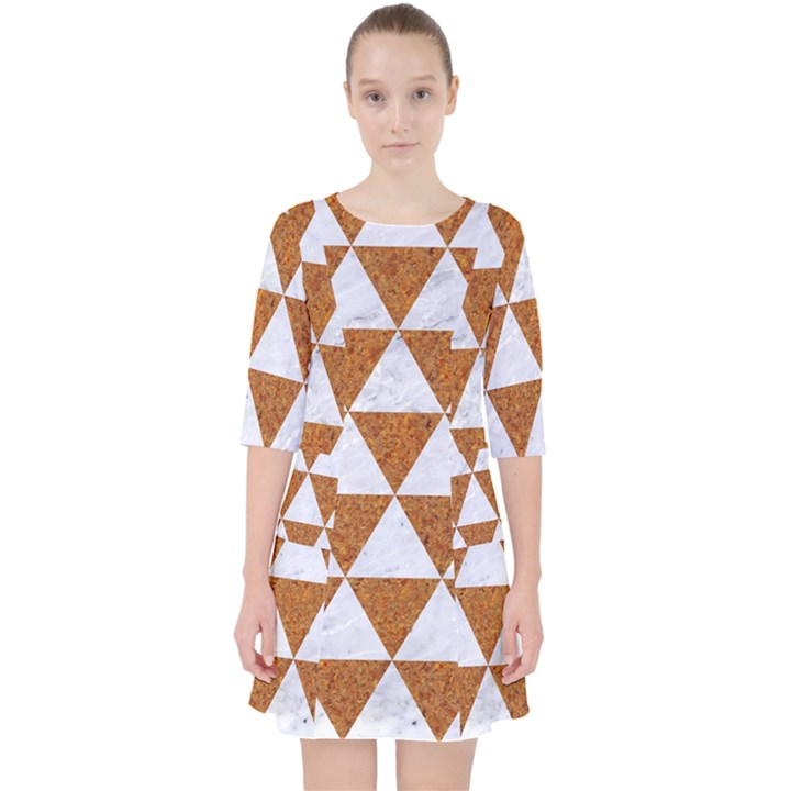 TRIANGLE3 WHITE MARBLE & RUSTED METAL Pocket Dress