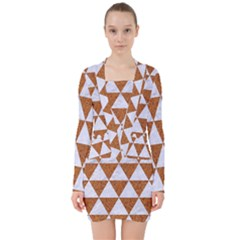 Triangle3 White Marble & Rusted Metal V Neck Bodycon Long Sleeve Dress