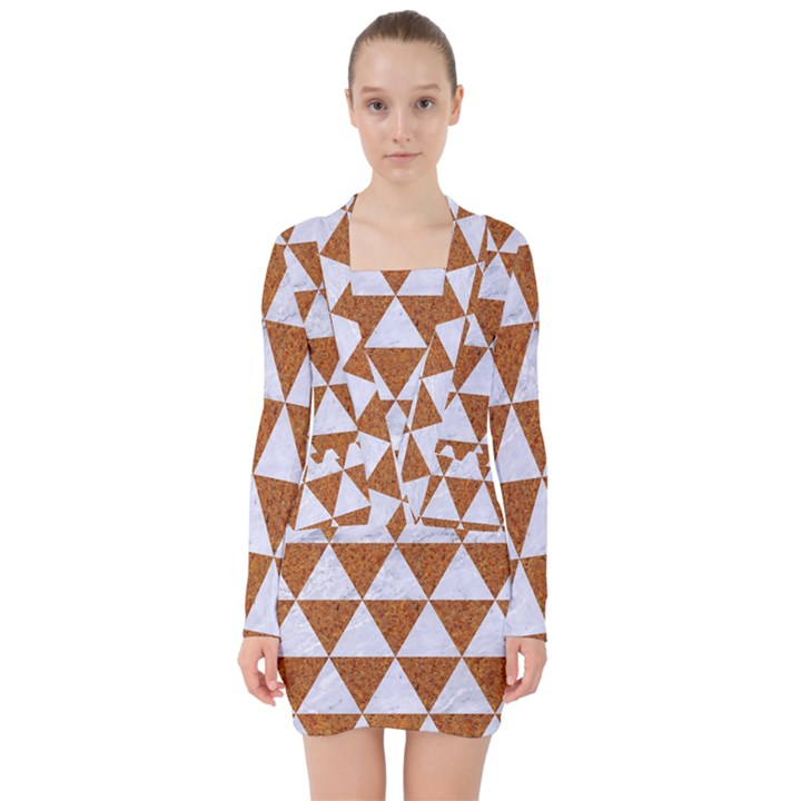 TRIANGLE3 WHITE MARBLE & RUSTED METAL V-neck Bodycon Long Sleeve Dress