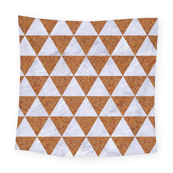 TRIANGLE3 WHITE MARBLE & RUSTED METAL Square Tapestry (Large)
