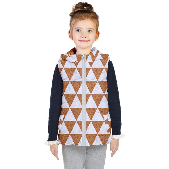 TRIANGLE3 WHITE MARBLE & RUSTED METAL Kid s Hooded Puffer Vest