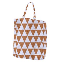 Triangle3 White Marble & Rusted Metal Giant Grocery Zipper Tote