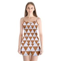 Triangle3 White Marble & Rusted Metal Satin Pajamas Set