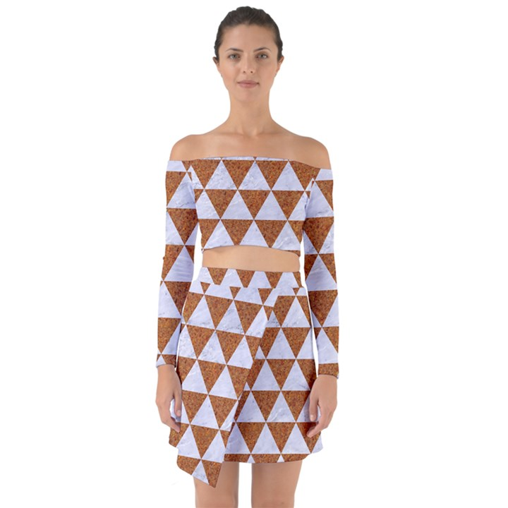 TRIANGLE3 WHITE MARBLE & RUSTED METAL Off Shoulder Top with Skirt Set