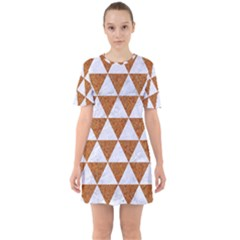 Triangle3 White Marble & Rusted Metal Sixties Short Sleeve Mini Dress