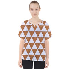Triangle3 White Marble & Rusted Metal V Neck Dolman Drape Top