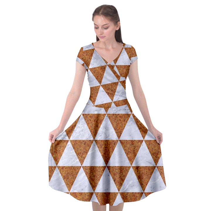 TRIANGLE3 WHITE MARBLE & RUSTED METAL Cap Sleeve Wrap Front Dress