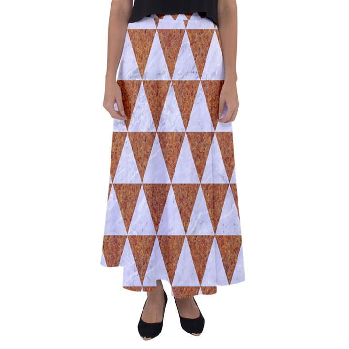 TRIANGLE3 WHITE MARBLE & RUSTED METAL Flared Maxi Skirt