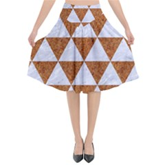 Triangle3 White Marble & Rusted Metal Flared Midi Skirt