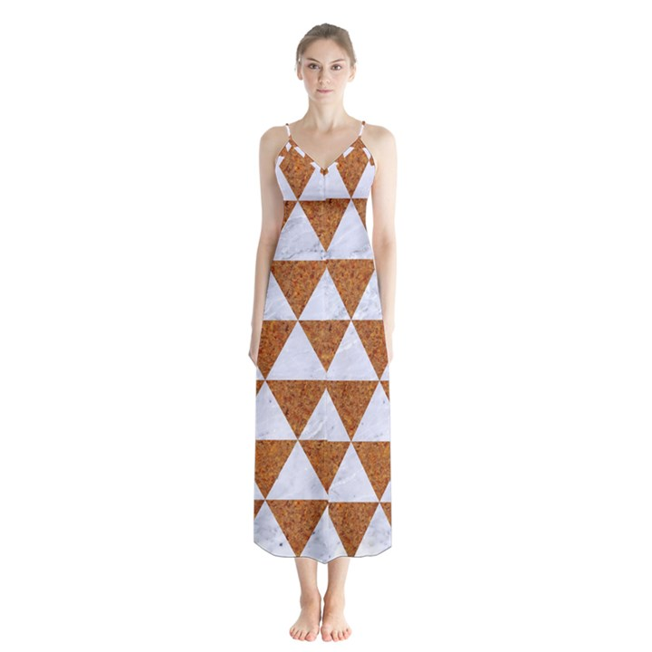 TRIANGLE3 WHITE MARBLE & RUSTED METAL Button Up Chiffon Maxi Dress