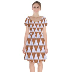 Triangle3 White Marble & Rusted Metal Short Sleeve Bardot Dress