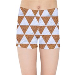 Triangle3 White Marble & Rusted Metal Kids Sports Shorts