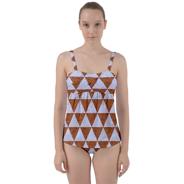 TRIANGLE3 WHITE MARBLE & RUSTED METAL Twist Front Tankini Set