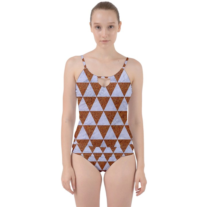 TRIANGLE3 WHITE MARBLE & RUSTED METAL Cut Out Top Tankini Set