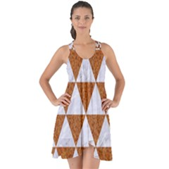 Triangle3 White Marble & Rusted Metal Show Some Back Chiffon Dress