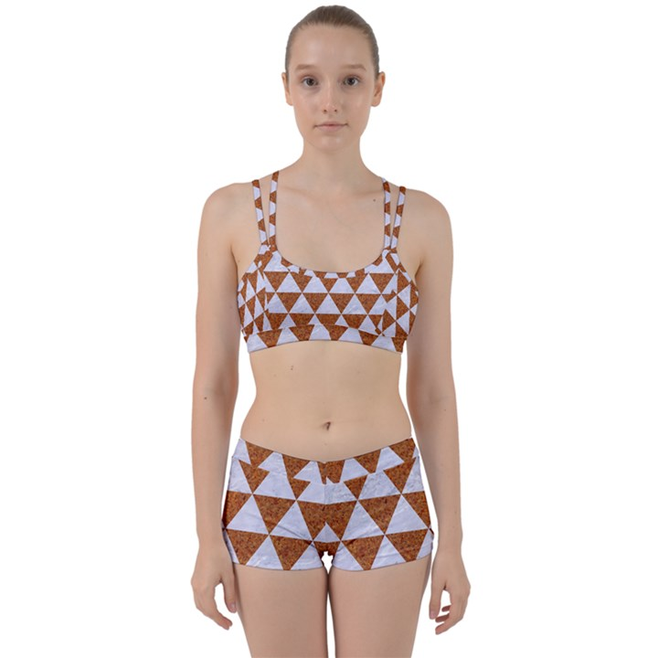 TRIANGLE3 WHITE MARBLE & RUSTED METAL Women s Sports Set