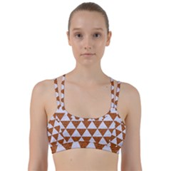 Triangle3 White Marble & Rusted Metal Line Them Up Sports Bra