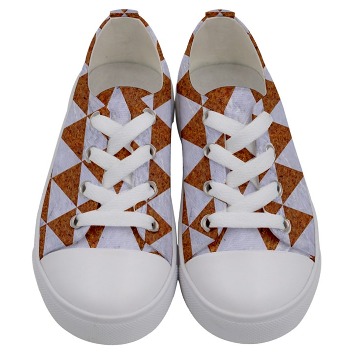 TRIANGLE3 WHITE MARBLE & RUSTED METAL Kids  Low Top Canvas Sneakers