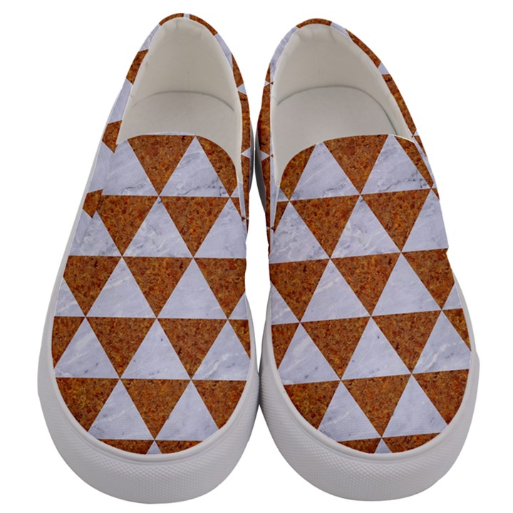 TRIANGLE3 WHITE MARBLE & RUSTED METAL Men s Canvas Slip Ons
