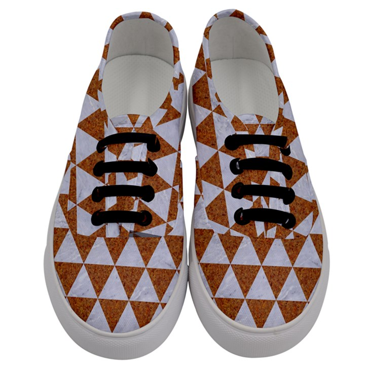 TRIANGLE3 WHITE MARBLE & RUSTED METAL Men s Classic Low Top Sneakers