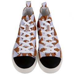 Triangle3 White Marble & Rusted Metal Men s Mid Top Canvas Sneakers