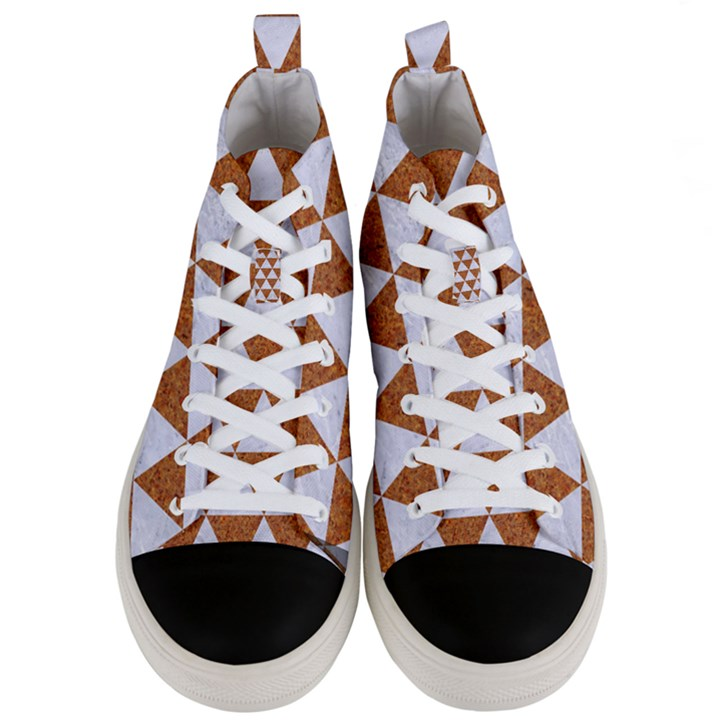 TRIANGLE3 WHITE MARBLE & RUSTED METAL Men s Mid-Top Canvas Sneakers