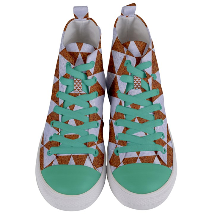 TRIANGLE3 WHITE MARBLE & RUSTED METAL Women s Mid-Top Canvas Sneakers