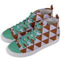 TRIANGLE3 WHITE MARBLE & RUSTED METAL Women s Mid-Top Canvas Sneakers View2