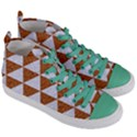 TRIANGLE3 WHITE MARBLE & RUSTED METAL Women s Mid-Top Canvas Sneakers View3