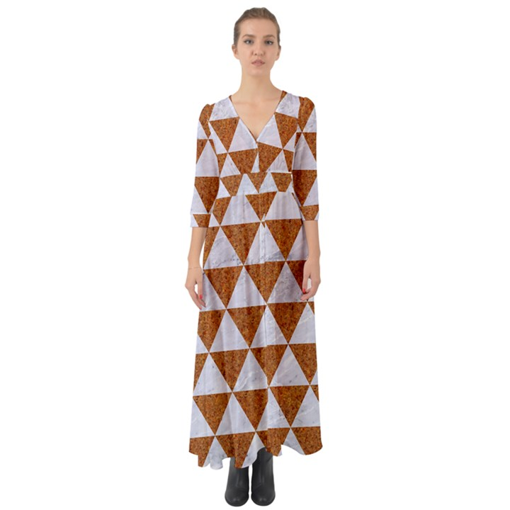 TRIANGLE3 WHITE MARBLE & RUSTED METAL Button Up Boho Maxi Dress