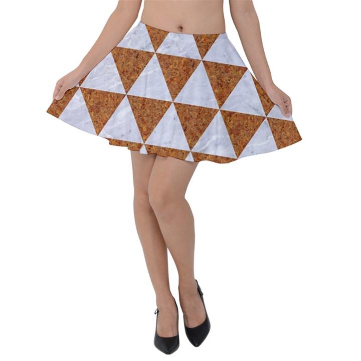 TRIANGLE3 WHITE MARBLE & RUSTED METAL Velvet Skater Skirt