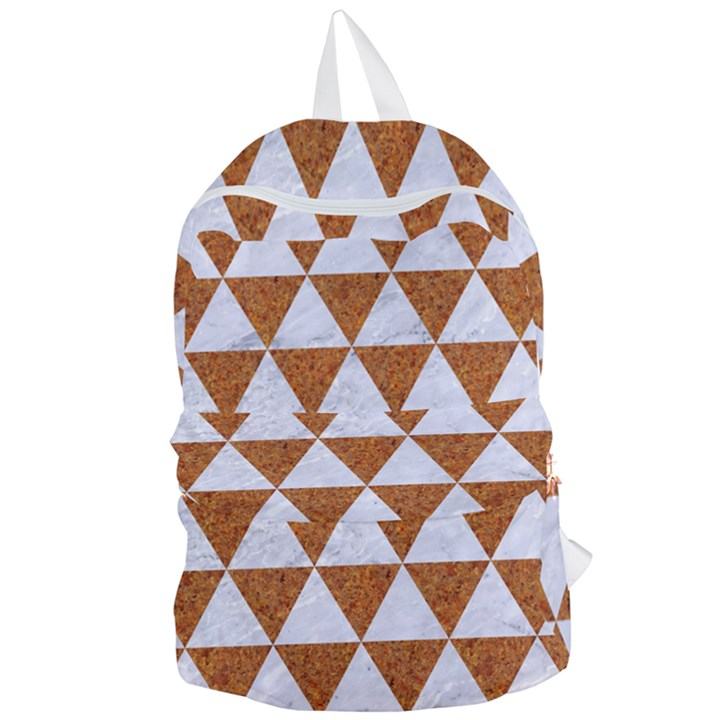 TRIANGLE3 WHITE MARBLE & RUSTED METAL Foldable Lightweight Backpack