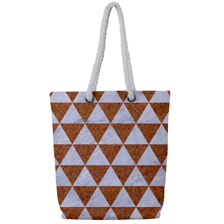 TRIANGLE3 WHITE MARBLE & RUSTED METAL Full Print Rope Handle Tote (Small)