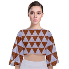 Triangle3 White Marble & Rusted Metal Tie Back Butterfly Sleeve Chiffon Top