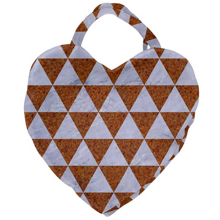 TRIANGLE3 WHITE MARBLE & RUSTED METAL Giant Heart Shaped Tote