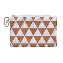 Triangle3 White Marble & Rusted Metal Canvas Cosmetic Bag (large)