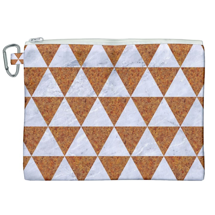 TRIANGLE3 WHITE MARBLE & RUSTED METAL Canvas Cosmetic Bag (XXL)