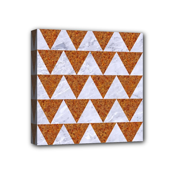 TRIANGLE2 WHITE MARBLE & RUSTED METAL Mini Canvas 4  x 4