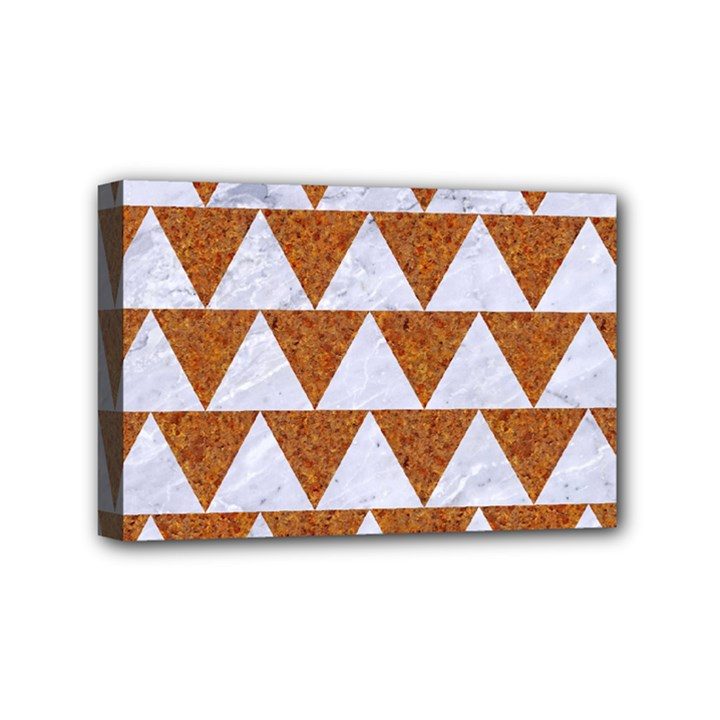 TRIANGLE2 WHITE MARBLE & RUSTED METAL Mini Canvas 6  x 4