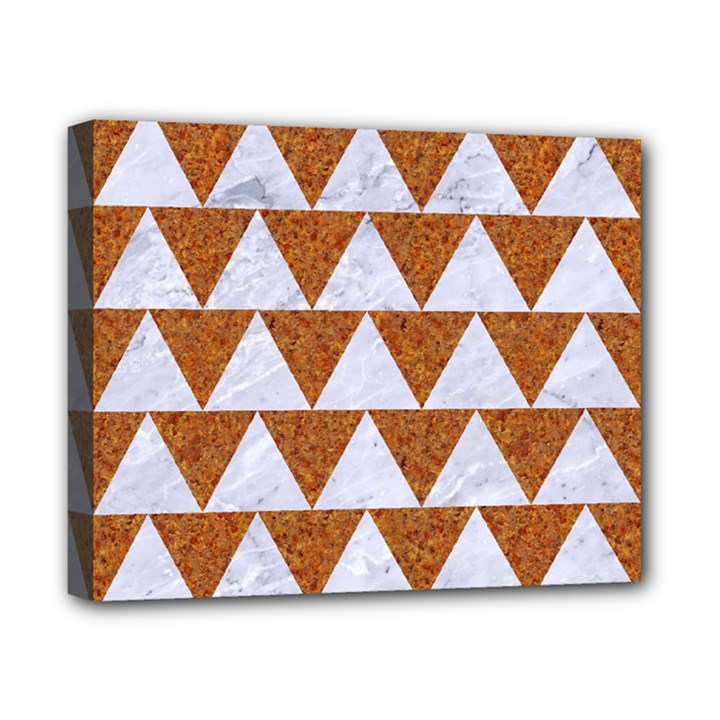 TRIANGLE2 WHITE MARBLE & RUSTED METAL Canvas 10  x 8