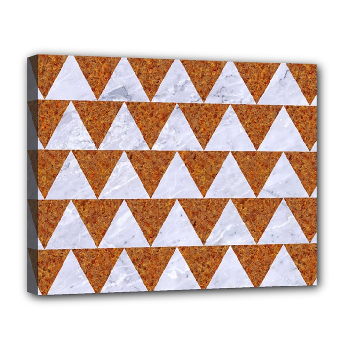 TRIANGLE2 WHITE MARBLE & RUSTED METAL Canvas 14  x 11
