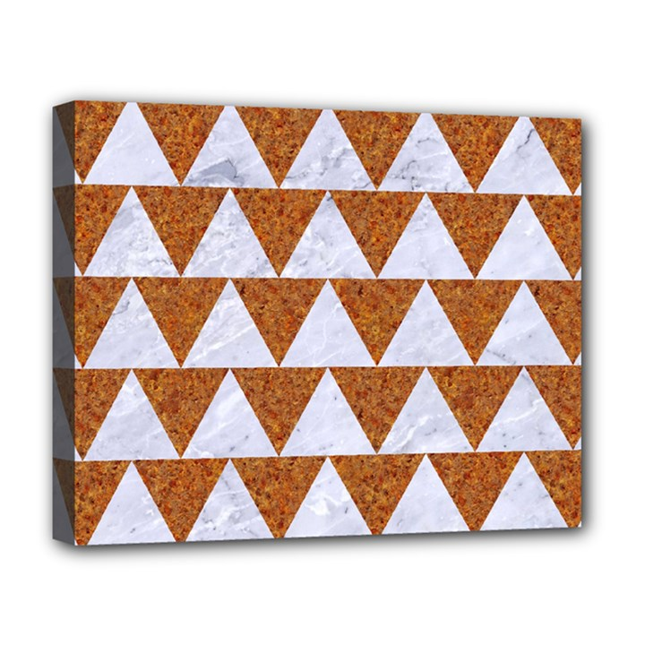 TRIANGLE2 WHITE MARBLE & RUSTED METAL Deluxe Canvas 20  x 16