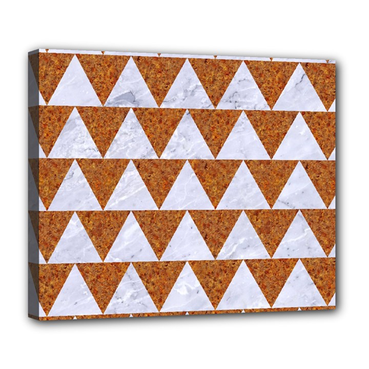TRIANGLE2 WHITE MARBLE & RUSTED METAL Deluxe Canvas 24  x 20