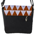 TRIANGLE2 WHITE MARBLE & RUSTED METAL Flap Messenger Bag (S) View1